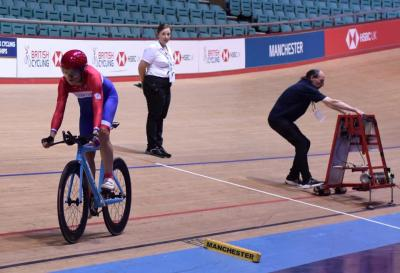 Paula on her way to 4th place in   individual pursuit at the 2019 Masters Track Cycling World Championships